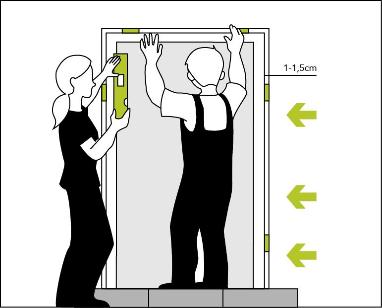 Schritt 2 – Einpassen des neuen Türrahmens